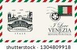 vector envelope or postcard in... | Shutterstock .eps vector #1304809918