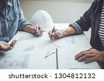 architecture engineer teamwork... | Shutterstock . vector #1304812132