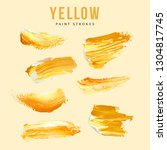 yellow hand painted elements... | Shutterstock .eps vector #1304817745