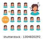 woman with different emotions.... | Shutterstock .eps vector #1304820292