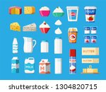 dairy products set. collection...   Shutterstock .eps vector #1304820715