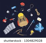 camping icons set. hiking icons ... | Shutterstock . vector #1304829028
