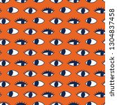 seamless pattern with hand evil ... | Shutterstock .eps vector #1304837458