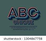 vector unique retro alphabet...   Shutterstock .eps vector #1304867758