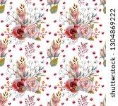 seamless pattern. set of flower ... | Shutterstock . vector #1304869222