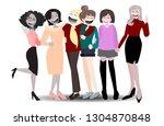 happy international  woman...   Shutterstock . vector #1304870848