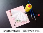 making greeting card from paper ... | Shutterstock . vector #1304925448