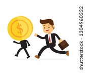 businessman running with big... | Shutterstock .eps vector #1304960332