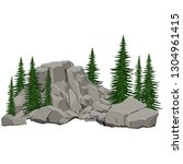 rock and spruce trees. detail... | Shutterstock .eps vector #1304961415