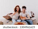 indoor portrait of girl and her ... | Shutterstock . vector #1304961625