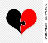 red and black heart made of two ... | Shutterstock .eps vector #1304965072