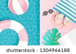 beach things paper art style...   Shutterstock .eps vector #1304966188