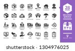 delivery service glyph icon set ... | Shutterstock .eps vector #1304976025