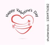 red heart shape with hand...   Shutterstock .eps vector #1304976382