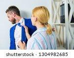girl seduce colleague. sexual... | Shutterstock . vector #1304982685
