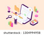 content marketing creating with ... | Shutterstock .eps vector #1304994958