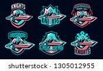 set of emblems of a knight... | Shutterstock .eps vector #1305012955
