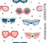 colorful summer glasses... | Shutterstock .eps vector #1305015778