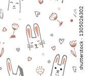 cute cartoon baby rabbit or...   Shutterstock .eps vector #1305026302