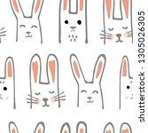 cute cartoon baby rabbit or...   Shutterstock .eps vector #1305026305