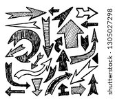 set of hand drawn arrows....   Shutterstock .eps vector #1305027298