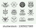 set of vintage vikings... | Shutterstock .eps vector #1305027385