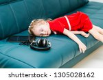 cute little smart caucasian... | Shutterstock . vector #1305028162