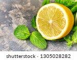 fresh green mint and lemon on... | Shutterstock . vector #1305028282