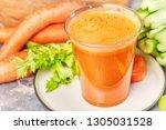 fresh green celery  juice in... | Shutterstock . vector #1305031528