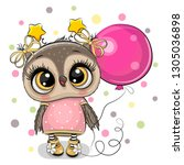 greeting card cute cartoon owl... | Shutterstock .eps vector #1305036898