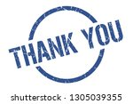 thank you blue round stamp | Shutterstock .eps vector #1305039355