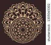 laser cutting mandala. wooden... | Shutterstock .eps vector #1305065302