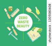 zero waste beauty text. doodle... | Shutterstock .eps vector #1305080608