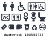 toilet icons set  male or... | Shutterstock . vector #1305089785