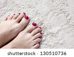 Woman Feet With Red Toenails O...