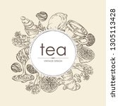 background with tea  cup of tea ... | Shutterstock .eps vector #1305113428