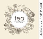 background with tea  cup of tea ... | Shutterstock .eps vector #1305113428