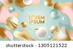 flowing soft shapes background. ... | Shutterstock .eps vector #1305121522