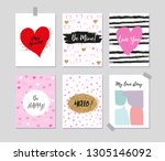collection of romantic greeting ... | Shutterstock .eps vector #1305146092