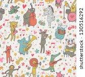 animals musicians  lion ... | Shutterstock .eps vector #130516292