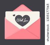 vector romantic envelope icon...   Shutterstock .eps vector #1305177565