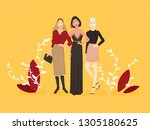 three model stand posing her... | Shutterstock .eps vector #1305180625