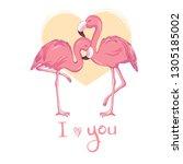 flamingo birds vectorial...   Shutterstock .eps vector #1305185002