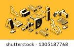 business audit illustration in... | Shutterstock . vector #1305187768
