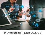 coding software developer work... | Shutterstock . vector #1305202738