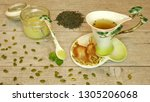 green tea with menthol honey | Shutterstock . vector #1305206068