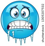 blue cold freezing emoticon... | Shutterstock .eps vector #1305207532