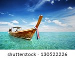 Long Tail boat in Thailand sea - stock photo