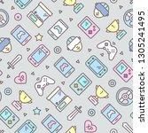 video games seamless pattern... | Shutterstock .eps vector #1305241495