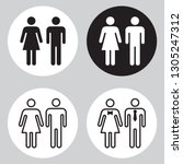 set of people icons in black... | Shutterstock .eps vector #1305247312